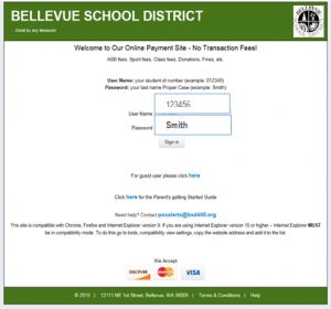 A screenshot of the Bellevue School District website