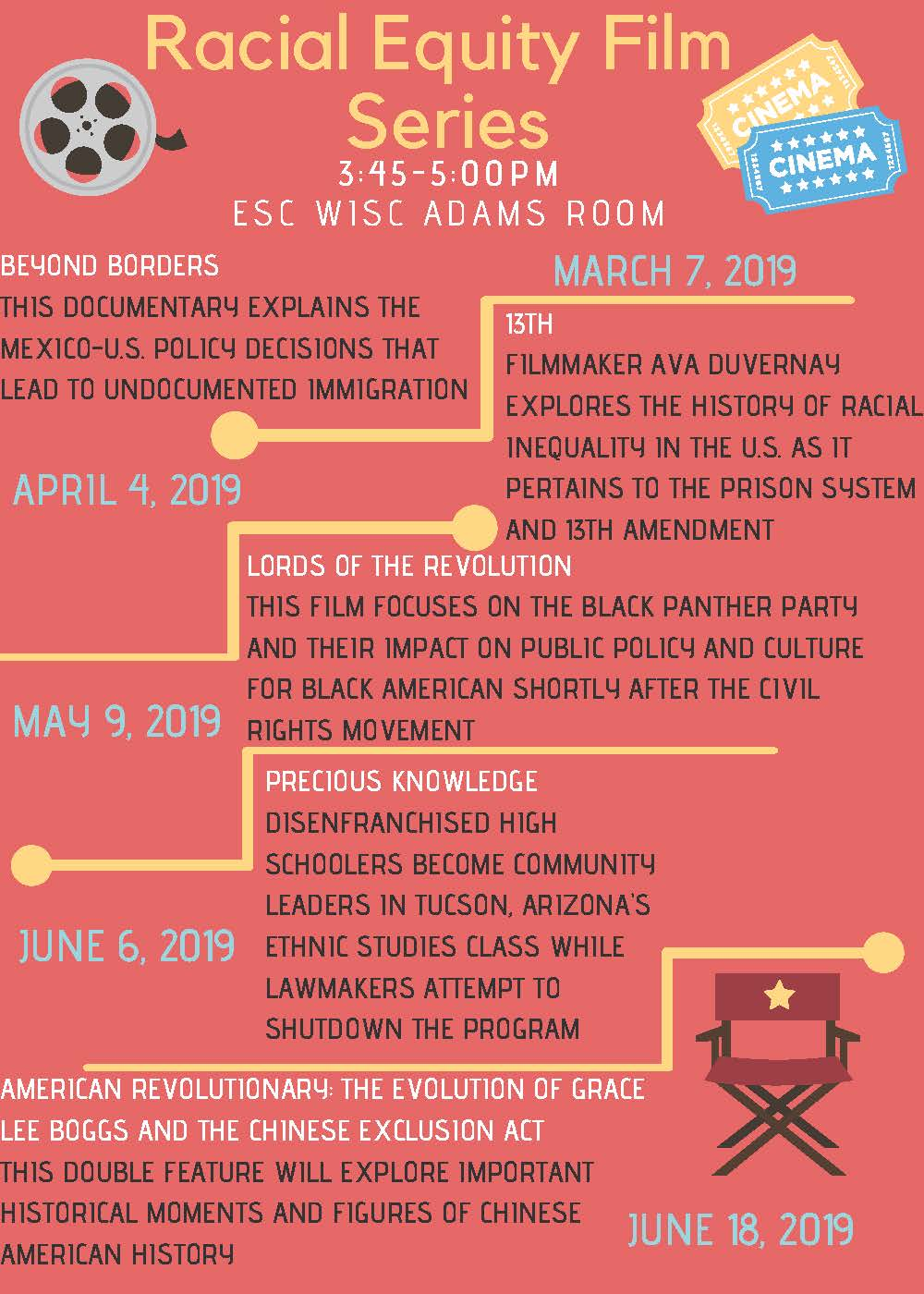 a photo of the poster for the racial equity film series