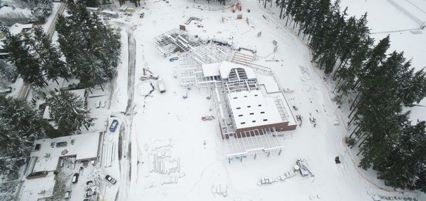 Birds eye view of the Clyde Hill construction site.