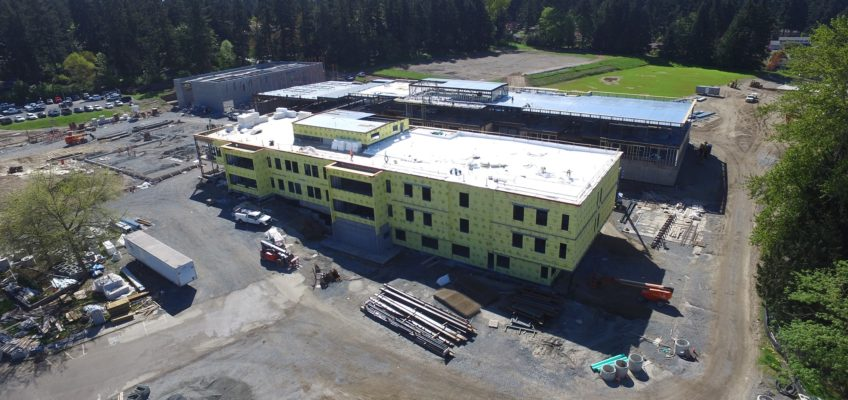 Birds eye view of the Highland Middle School construction site.