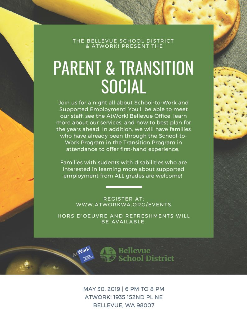 a flyer for the parent and transition social night