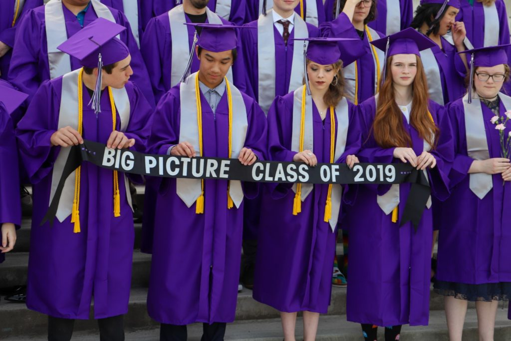 "students holding a sign that says ""Big Picture Class of 2019"""
