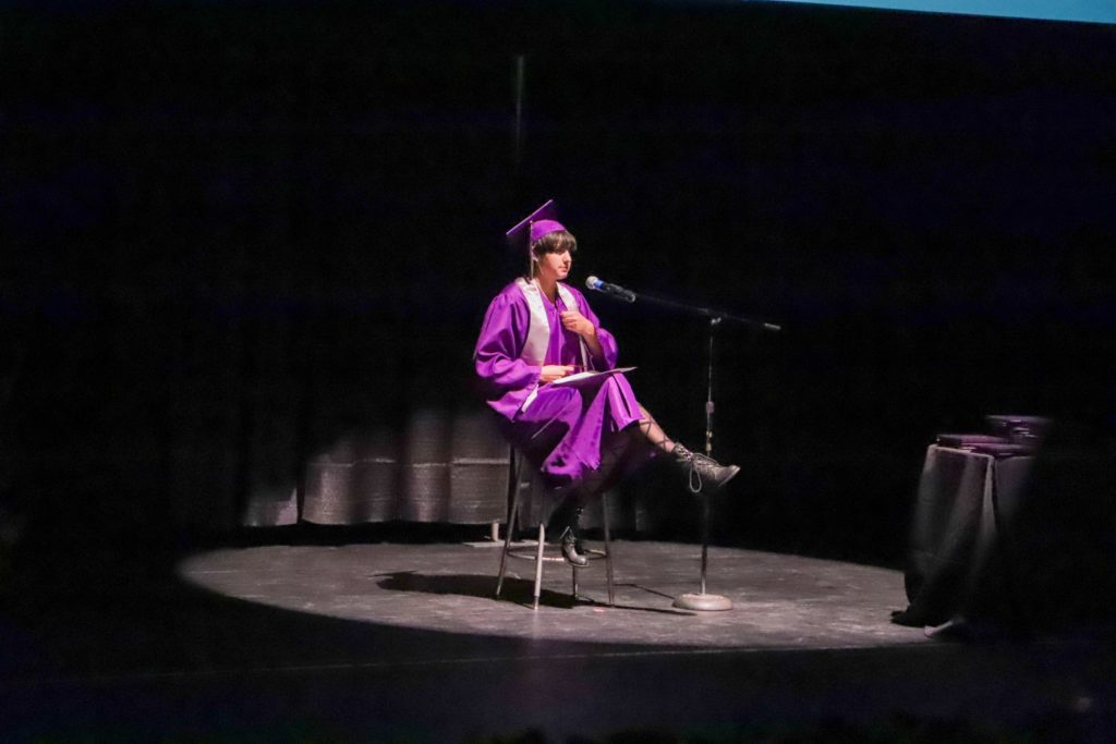 student speaking at a graduation ceremony