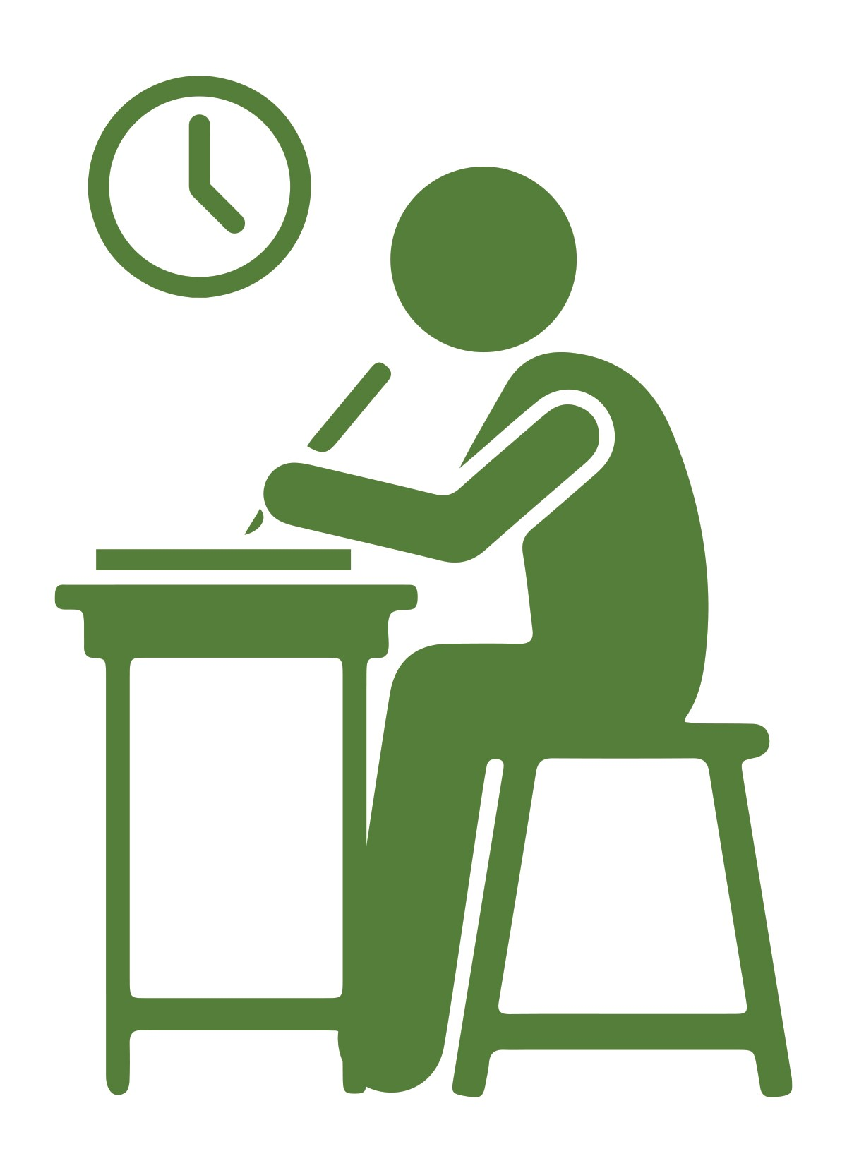 Icon of a student sitting in front of a school desk.