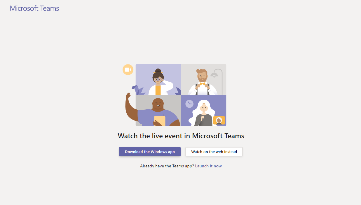 Microsoft Teams, Watch the live event in Microsoft Teams landing page screenshot.