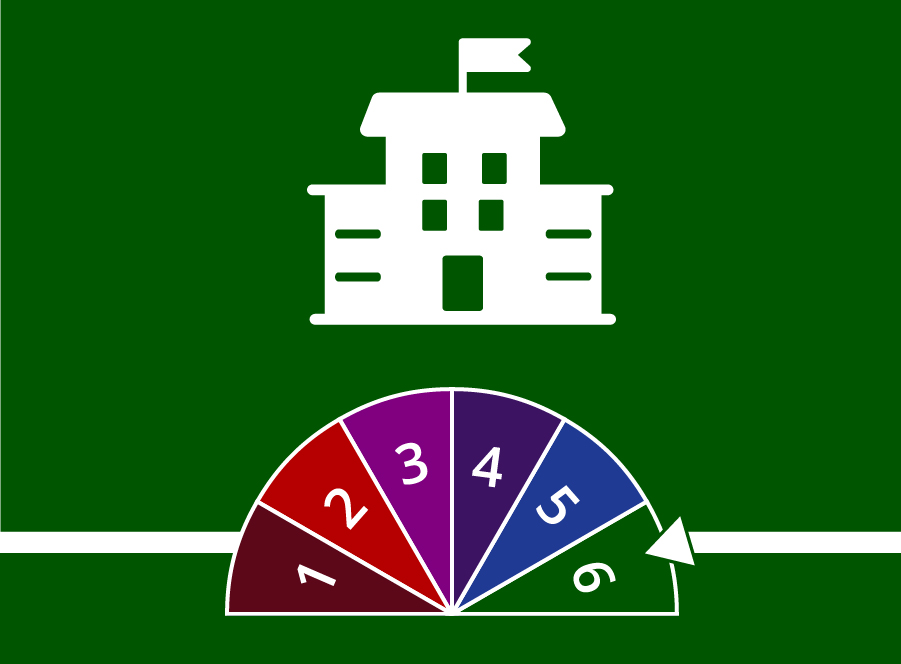 A school building icon with a dial that indicates stage 6.