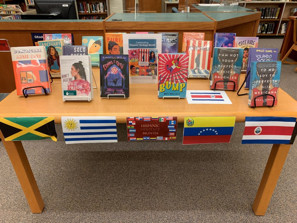 Spanish books on table in library